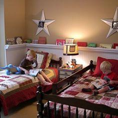 Rain Gutter Bookshelves ~ 25 boy's room projects