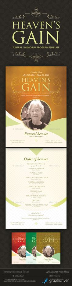 Funeral  Memorial Program Template By Sherman Jackson On Creative