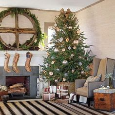 I'M GOING TO DO THIS!!! Instead of the classic Christmas tree skirt this year, why not place your Christmas tree in a basket or a metal pail? Not only is this a nice casual and rustic look, but it also doubles as a cover for the water bucket that your tree is sitting in.