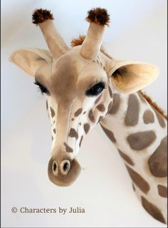 Handmade textile giraffe, faux taxidermy sculpture safari trophy, totally vegetarian! Characters by Julia