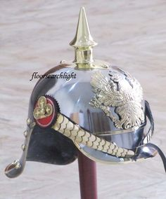 GERMAN FR BADGE PICKELHAUBE STEEL & BRASS HELMET PRUSSIAN OFFICER SPIKE HELMET