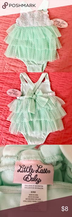 Little Lass Baby Onesie 6-9 mos Brand New with Tags! Little Lass Baby Onesie - Color: Mint Green/White - Size 6-9 months Little Lass One Pieces Bodysuits