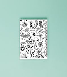 Although all temporary tattoos can look like real ones, black&white are mostly mistaken for a true skin ink! Filled with sketchy drawings that will enrich your summer experience with possibility to try out any tattoo that you could every wish for. This tattoo sheet has 47 beautiful tattoos that differ in size from very small to larger ones.  Have a look at #taadaaada for more pictures and inspiration  Specially designed by Kristiāna Kalniņa  Instagram: @_kkristiaana