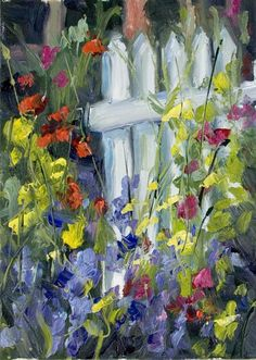 Kit Hevron Mahoney Fine Art: Sweet Peas on the Fence Abstract Canvas Art, Oil Painting On Canvas, Art Floral, Encaustic Art, Sacred Art, Painting Inspiration, Flower Art, Watercolor Paintings, Fine Art