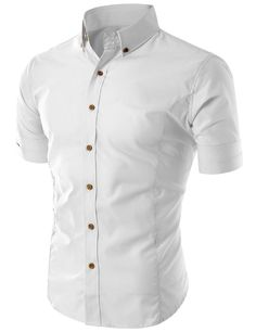 Clean lines, thats all you need: Doublju Men's Wrinkle Free Short Sleeve Dress Shirts at Amazon Men's Clothing store: Button Down Shirts