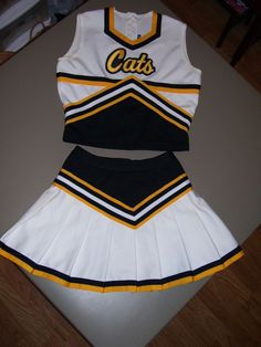 VARSITY Black & Gold CATS Cheerleader Uniform Halloween Costume Teen XS SMALL #Elite #CompleteCostume