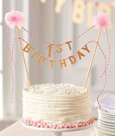 Pink & Gold Sparkle Birthday Cake Topper Now in Stock (Birthday Party Supplies). Birthday cake topper reads Birthday' in glitter felt strung between two pom-pom topped wooden dowel posts. 1st Birthday Cake For Girls, 1st Birthday Cake Topper, Birthday Ideas, Birthday Wishes, Birthday Images, Cake Topper Banner, First Year Birthday, Birthday Signs, First Birthday Decorations