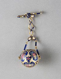 Vinaigrette Brooch  Made in France, Europe    19th century    Artist/maker unknown, French    Gold; enamel; ruby; pearls  Length: 3 3/4 inches (9.5 cm)