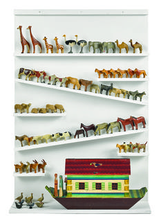 """177.      German Noah's Ark, late 19th c., with Noah and his wife and sixty-two animals, ark - 9"""" h., 18 1/2"""" w. $1,500-2,500"""