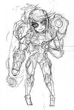 WIP Samus Aran mini Sketch by Warhound-CMP