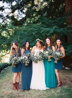 bridesmaids in blue - photo by Sposto Photography http://ruffledblog.com/redwoods-forest-wedding-at-fern-river