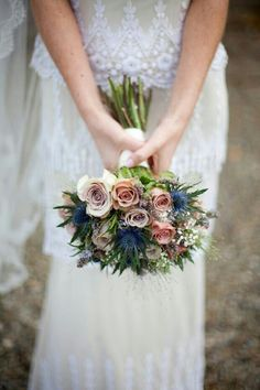 "Bridal Bouquet Of ""Vintage"" Roses, Blue Eryngium Thistle, Baby's Breath, & Foliage~~"