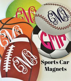 Monogram Sports car magnet  baseball soccer by sweetgrassprints