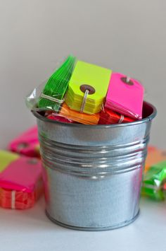 Neon parcel gift tags from Knot & Bow.