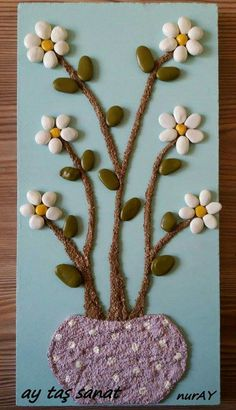 Anna Olivares's media content and analytics Stone Crafts, Rock Crafts, Crafts To Sell, Diy And Crafts, Crafts For Kids, Arts And Crafts, Felt Flowers Patterns, Painted Rock Cactus, Rock Flowers