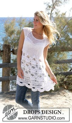 "Free pattern: Crochet DROPS tunic with mussel pattern in ""Alpaca"" and ""Cotton Viscose"". Size S - XXL"