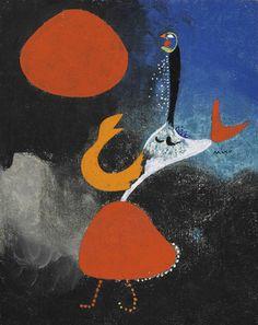 Joan Miró (Catalan/Spanish, 1893-1983), Femme devant le soleil [Woman in front of the sun], 7 July 1938. Oil on canvas, 24.2 x 19.1 cm.