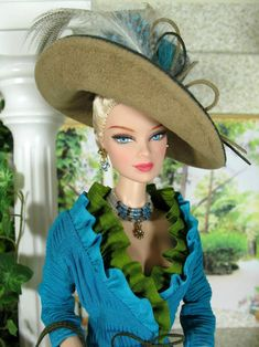 A refined southern lady. Barbie goes to the Kentucky Derby Barbie Go, Barbie World, Barbie And Ken, Barbie Patterns, Clothes Patterns, Sewing Patterns, Barbie Collection, Barbie Friends, Barbie Clothes