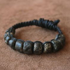 Ancient Granite Bead Macrame Bracelet Rustic Gray Black and Sterling Silver