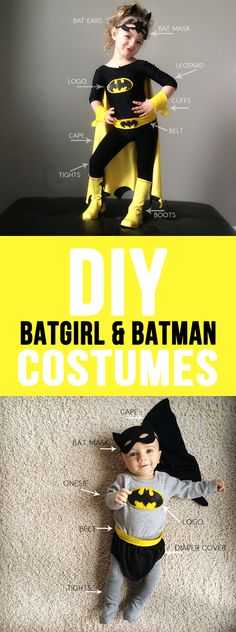 diy batman and batgirl costume Costume Halloween, Batgirl Costume Kids, Batman Costume For Girls, Batgirl Party, Diy Superhero Costume, Batman Halloween, Batman Costumes, Baby Costumes, Halloween Kids