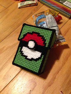 Pokemon deck box, plastic canvas Pokemon Deck, Pokemon Craft, Plastic Canvas Crafts, Plastic Canvas Patterns, Needlepoint Patterns, Pony Beads, Cross Stitch Embroidery, Crafts To Make, Crochet Projects