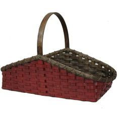 primitive baskets - Google Search Old Baskets, Vintage Baskets, Painted Baskets, Buckets, Primitives, Tins, Hearth, Old And New, Basket Weaving