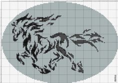 Sticken Pferde - cross stitch horses - free pattern horse silhoutte