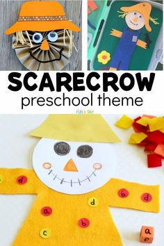 A scarecrow preschool theme that is perfect for fall! Find hands-on learning activities, crafts for kids, and so many more creative ideas in this adorable preschool theme. Fall Preschool Activities, Early Learning Activities, Art Activities, Toddler Crafts, Crafts For Kids, Scarecrow Crafts, Easy Arts And Crafts, Craft Stick Crafts, Childhood Education