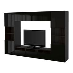 Ikea TV storage combinationglass pushopen doors blackbrown Selsviken high glossblack smoked glass 8202231129222 ** ** AMAZON BEST BUY **