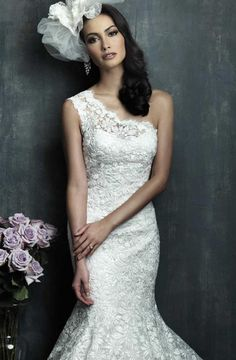 One shoulder with white lace with flared bottom