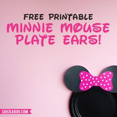 These printable Minnie Mouse ears for plates makes decorating your party table a snap! Simply print out the ears and attach them to black paper plates.