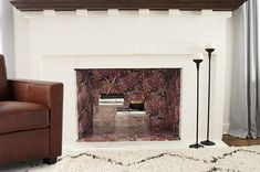how to style your faux fireplace for fall - wallpaper insert!   coco+kelley