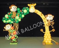 Jungle Theme Balloon Arch Seattle/Bellevue area Balloon Delivery & Decorations since Balloon B Jungle Theme Parties, Jungle Theme Birthday, Jungle Party, Safari Party, 1st Birthday Parties, Balloon Bouquet, Balloon Arch, Balloon Garland, Balloon Columns