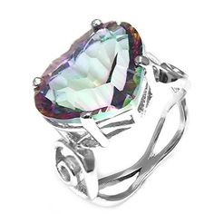 AYT 11ct Genuine Natural Rainbow Fire Mystic Topaz Ring Real Pure Solid 925 Sterling Silver Heart Unique Gift For Women New 70 -- Click image to review more details.(This is an Amazon affiliate link and I receive a commission for the sales)