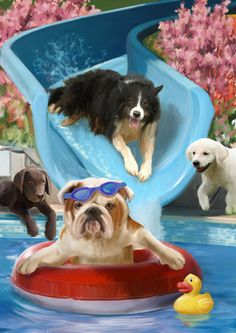 """Dog & Puppy Art - """"Summer Fun"""" by Thomas Wood I Love Dogs, Cute Dogs, Animals And Pets, Cute Animals, Foto 3d, Me And My Dog, Dog Artwork, Puppy Pictures, Puppy Pics"""