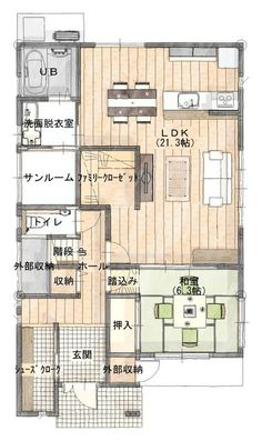 My House Plans, House Floor Plans, Japanese Apartment, Apartment Layout, Paint Colors For Living Room, Sims House, Japanese House, House Layouts, Architect Design