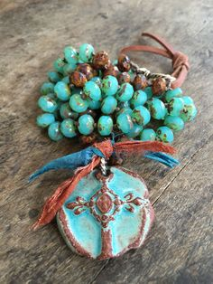 "Country Boho Knotted Cross Necklace, ""Faith"" Rustic Turquoise by Two Silver Sisters"