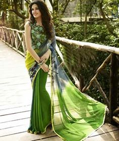 Buy Green Georgette Printed Saree With Blouse 76413 with blouse online at lowest price from vast collection of sarees at Indianclothstore.com.