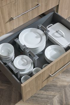 2 Plate Holders nestle within deep drawers making it easy to lift and carry stacks of dinnerware from drawer to table, and dishwasher to drawer. Kitchen Cabinet Organization, Kitchen Storage, Kitchen Decor, Kitchen Cabinetry, Kitchen Pantry, Cabinets, Plate Organizer, Custom Cabinetry, Omega
