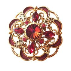 Scarlet Red Rivoli Crystal Enameled Statement Brooch circa 1960s Dorothea's Closet Vintage Brooch