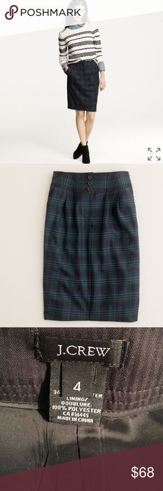 NWOT. J. Crew No. 2 Plaid Pencil Skirt No. 2 pencil skirt in blackwatch plaid by J. Crew. High waist with front zip & 3 button closure. Front pleats. 2 side pockets. Rear vent.  Fully lined. 66% wool. 34% polyester. Size 4. NWOT. J. Crew Skirts Pencil