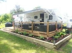 Image result for outdoor living decks with parking for trailers