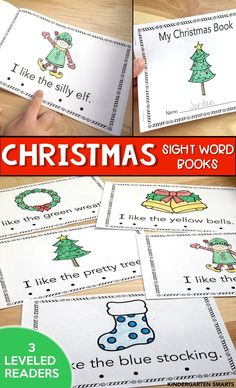 These Christmas Sight Word books are perfect for small group reading time. There are 3 leveled readers that all appear exactly the same just with different text. Students will all appear to be reading the same book just leveled according to their reading skill. Christmas Activities, Christmas Themes, Christmas Books, Preschool Christmas, Preschool Activities, Winter Activities, Reading Activities, Christmas Fun, Leveled Readers