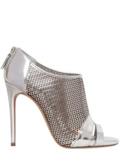 Love this: 110mm Metallic Leather Open Toe Boots @Lyst