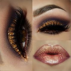 Wear this gold sparkly eye with a bronzed metallic lip and glam up any party. These eye shadows paired with a metallic lip is a combo made for stardom.