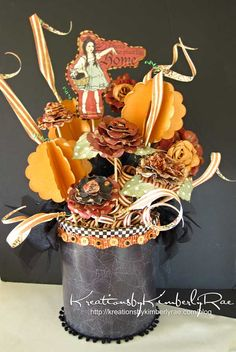 Our other Halloween Rejuvenation winner, Peterson Rae Forde with her beautiful Fall Centerpiece! Scrapbook Box, Scrapbook Supplies, Scrapbooking Layouts, Halloween Boo, Halloween Crafts, Magic Of Oz, Handmade Crafts, Diy Crafts, Graphic 45