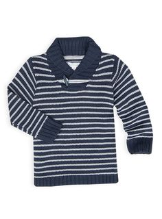Pumpkin Patch - sweats - stripe knit shawl collar sweat - W4TB20011 - captain blue - 12-18m to 5
