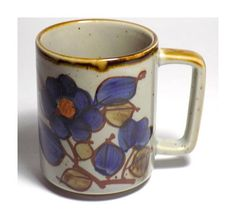1970s Blue Floral Coffee Mug Watercolor Style Flower Ceramic