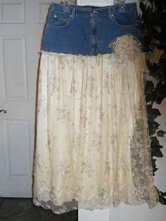 Belle Demoiselle bohemian jean skirt exquisite vintage French lace sheer goddess fairy Renaissance Denim Couture
