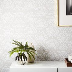 Shop damask white and light grey wallpaper. Popular in European drawing rooms way back in the day, designers Hygge and West gave this traditional pattern an unfussy twist. Navy Wallpaper, Modern Wallpaper, Geometric Wallpaper, Wallpaper Roll, Wallpaper Stairs, Bedroom Wallpaper, Paper Wallpaper, Wallpaper Ideas, Damask Bedroom